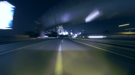 indonesia : Seamless loop time lapse of car driving on Jakarta highway at night.