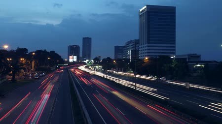 Time lapse of day to night highway traffic on August 10, 2013 in Jakarta, Indonesia