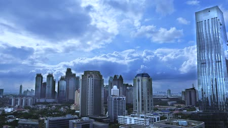indonesia : Footage video of cloudy sky above skyscraper in the Central Jakarta, Indonesia