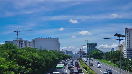 indonesia : Footage video of crowded traffic with blue sky on the Jakarta highway, Indonesia