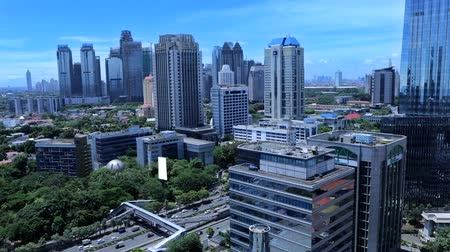 indonesia : Footage video of high office building with blue sky in the Central Jakarta, Indonesia