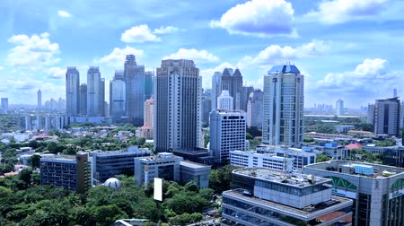 indonesia : Footage video of skyscrapers with clear sky in the Central Jakarta, Indonesia