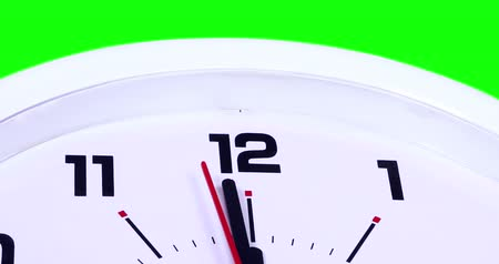 pm : Video footage of a wall clock with a ticking arrow and green screen background