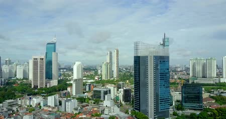 indonesia : Video footage of aerial view of skyscrapers and residential view in the Jakarta, Indonesia. Professional shot in 4K resolution