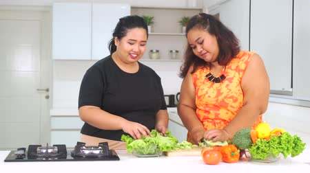 nadváha : Video footage of two overweight women preparing vegetables salad while talking together in the kitchen at home