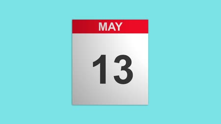 hó : 3D animation of May month calendar with pages in motion, shot on blue screen background Stock mozgókép