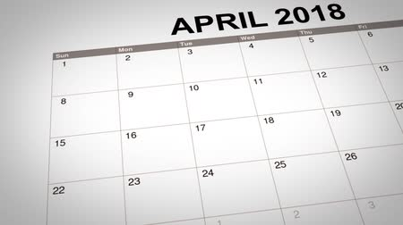 primeiro plano : 3D animation of April Fools Day marked on calendar 2018. Concept of April Fools Day reminder. Stock Footage