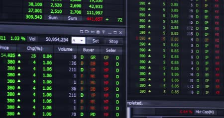 ekonomi : Stock exchange or stock market background on the monitor. Shot in 4k resolution Stok Video