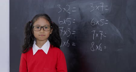 hesaplama : Confident female elementary school student standing in the classroom with folded hands and a math problem background on the chalkboard. Shot in 4k resolution Stok Video