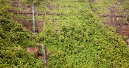 java : Beautiful aerial view of Ciateul and Cikanteh waterfall at Ciletuh Geopark, Sukabumi, West Java, Indonesia. Shot in 4k resolution Stock Footage