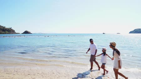 Флорес : Two happy parents and their daughter enjoying holiday on the beach while walking and holding hands together in Komodo Island near Bali, Indonesia