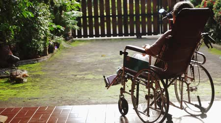oneself : Back view of paralyzed old woman sitting on wheelchair while sunbathing for health on the morning at the home yard Stock Footage