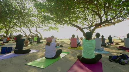 матрац : Bali - Indonesia. April 19, 2018: Group of people enjoy in free classes yoga at the beach during sunrise at Bali