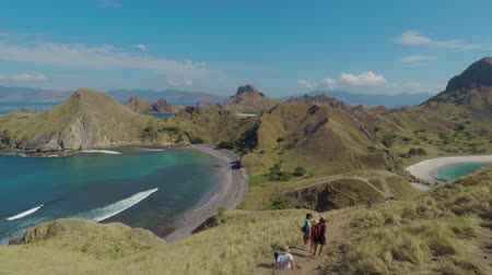 savanna : Padar Island - Indonesia. April 16, 2018: Beautiful landscape of Padar Island near Komodo Island at East Nusa Tenggara, Indonesia Stock Footage