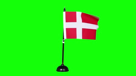 nordic countries : Denmark flag waving on green screen background in the studio. Shot in 4k resolution