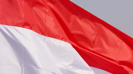 demokracie : National flag of Indonesia waving outdoor as a symbol of freedom and independence day