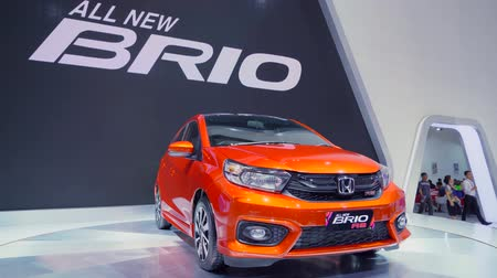 inovador : Tangerang, Indonesia - August 08, 2018: New Honda Brio RS car showed in Gaikindo Indonesia International Auto show. Shot in 4k resolution