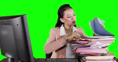 polinésia : Young business woman looks tired and sleeping above documents. Shot in 4k resolution with green screen background
