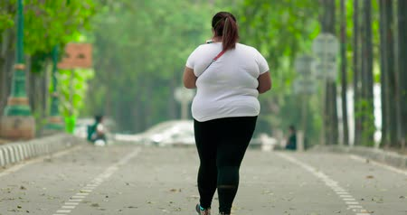 nadváha : Rear view of overweight young woman walking on the street at the park. Shot in 4k resolution