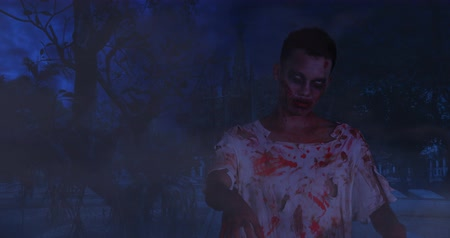 ferida : Scary zombie man standing outdoors at night in dark with bloody face and torn clothes. Shot in 4k resolution Stock Footage