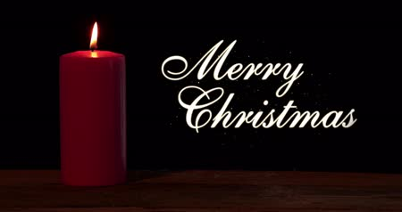 feliz natal : Glowing red candle on the wooden table with Merry Christmas text. Shot in 4k resolution with dark background