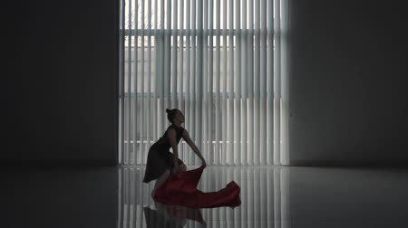 sukénka : Silhouette of a young ballet dancer dancing with a cloth near the window in the studio. Shot in slow motion