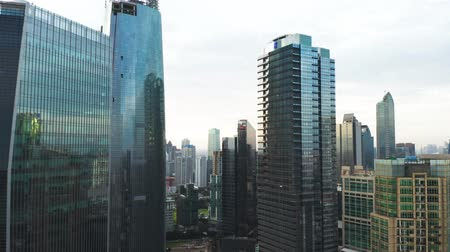 sudirman : JAKARTA, Indonesia - January 02, 2019: Aerial view of modern skyscrapers in financial district at Jakarta city, Indonesia. Shot in 4k resolution
