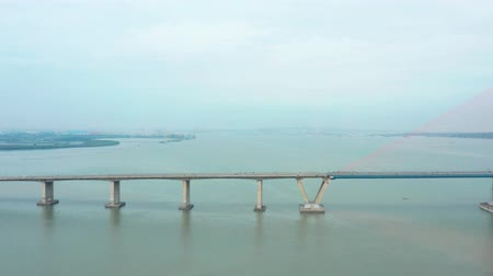 madura : Beautiful aerial view of Suramadu Bridge also known as the Surabaya–Madura Bridge at Surabaya City to Madura Island, East Java, Indonesia. Shot in 4k resolution
