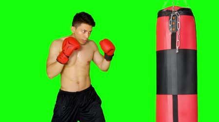 punching bag : Young man doing boxing exercise while punching a boxing sack. Shot in 4k resolution with green screen background