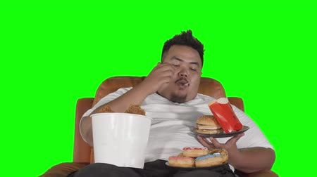 voracious : Greedy overweight man eating junk foods like burger, fried chicken, and donuts while sitting on the sofa. Shot in 4k resolution with green screen background