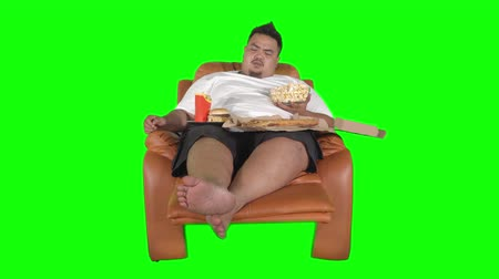 hranolky : Young overweight man eating junk foods like popcorn, burger, pizza, and french fries while sitting on sofa. Shot in 4k resolution with green screen background