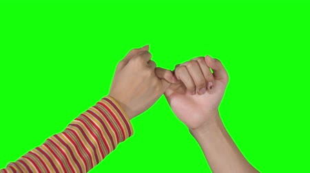 söz : Two women hands making a pinky swear symbol. Friendship concept. Shot in 4k resolution with green screen background