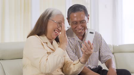 成熟 : Happy senior couple making a video call using a smartphone while sitting on the sofa at home. Shot in 4k resolution 動画素材