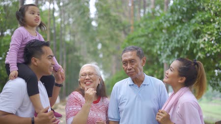 feliz : Three generation family standing at the park while talking together. Shot in 4k resolution