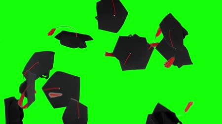 promoce : Slow motion of graduation caps thrown on the air in the studio with green screen background