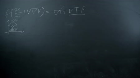 vzorec : Stop motion of maths formulas written by white chalk on the blackboard background. Shot in 4k resolution