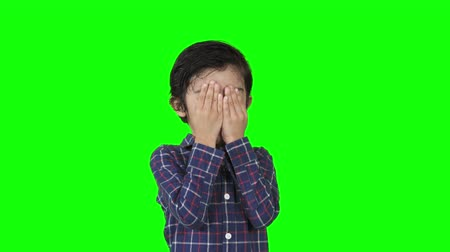 ищу : Cute little boy closing his face and playing peekaboo or hide and seek with fun in the studio. Shot in 4k resolution with green screen background
