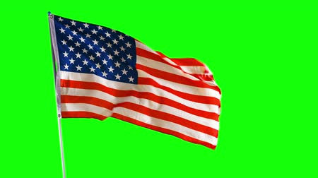 깃대 : American national flag blowing on a strong wind with green screen background. Shot in 4k resolution 무비클립