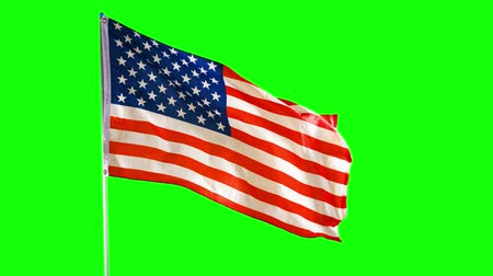 깃대 : American national flag waving in the studio with green screen background. Shot in 4k resolution