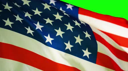 깃대 : National flag of American waving in strong wind. Shot in 4k resolution with green screen background 무비클립