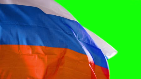 깃대 : National flag of Russian waving in the wind on a flagpole at the studio. Shot in 4k resolution with green screen background 무비클립