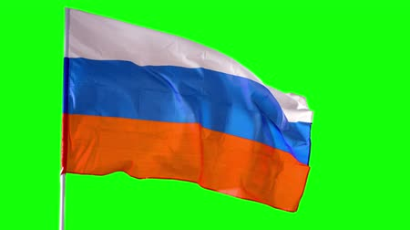 깃대 : Russian flag blowing in the wind on flagpole at the studio. Shot in 4k resolution with green screen background 무비클립