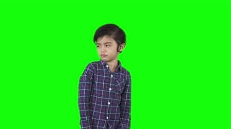 個性 : Arrogant little boy looking at the camera while standing in the studio. Shot in 4k resolution with green screen background 動画素材