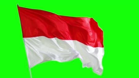 dag van de arbeid : Flag of Indonesian country fluttering on the flagpole in the studio. Shot in 4k resolution with green screen background