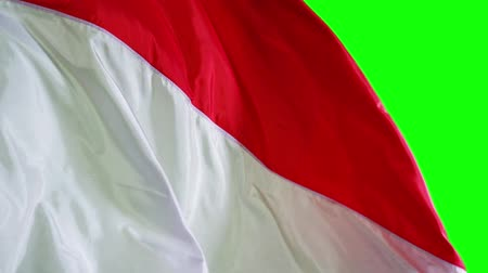dag van de arbeid : Slow motion of Indonesia country flag waving in the studio with green screen background