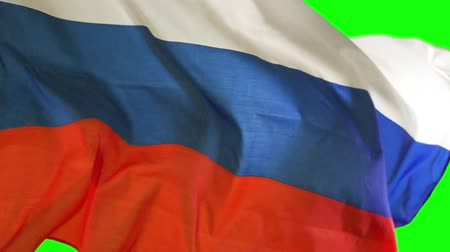 깃대 : Closeup of Russian national flag waving in the studio with green screen background 무비클립