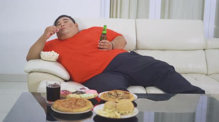 voracious : Lazy overweight man enjoying a bottle of beer and junk foods while leaning on the sofa and watching tv in the living room at home. Shot in 4k resolution