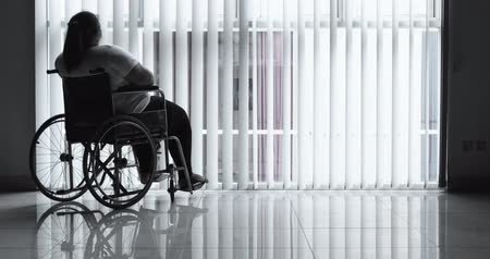 жир : Silhouette of disabled fat woman sitting alone on the wheelchair near the window at home. Shot in 4k resolution