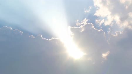 Beautiful view of sunbeam glowing on the sky with cloud in the morning. Shot in 4k resolution