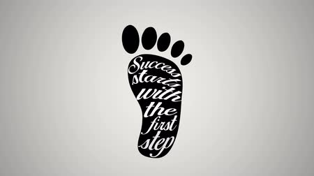 ösztönző : Motivational quotes animation of success start with the first step on a foot mark, isolated on white background. Kinetic typography in 4k resolution